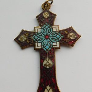 Vintage French Champlevé Enamel Cross Pendant